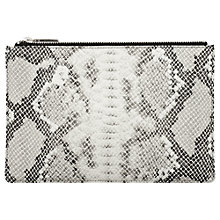 Buy Whistles Small Snakeskin Clutch Bag, Black / White Online at johnlewis.com