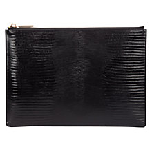 Buy Whistles Medium Shiny Lizard Clutch Bag, Black Online at johnlewis.com