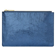 Buy Whistles Small Cracked Leather Clutch Bag, Navy Online at johnlewis.com