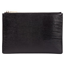 Buy Whistles Small Shiny Lizard Clutch Bag, Black Online at johnlewis.com