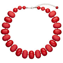 Buy John Lewis Oval Bead Necklace, Matte Red Online at johnlewis.com