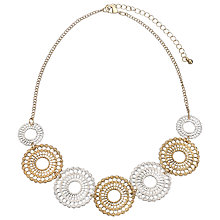 Buy John Lewis Flower Discs Necklace, Silver/Gold Online at johnlewis.com