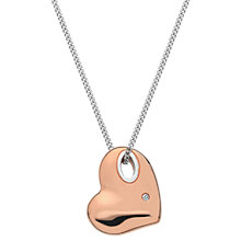 Buy Hot Diamonds Rose Gold Plated Lunar Pebble Heart Pendant, Rose Gold Online at johnlewis.com