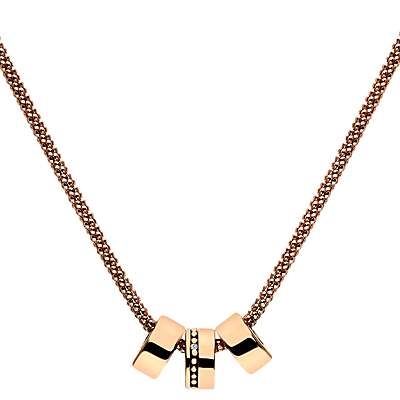 Hot Diamonds Rose Gold Plated Trio Necklace, Rose Gold