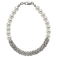 Buy John Lewis Faux Pearl With Diamante Bar Bracelet, White Online at johnlewis.com