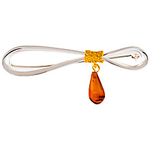 Buy Be-jewelled Cognac Sterling Silver Gold Plated Amber Bow Brooch, Amber Online at johnlewis.com