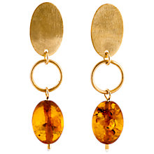 Buy Be-Jewelled Cognac Amber Oval Baltic Drop Earrings, Amber Online at johnlewis.com
