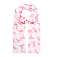 Buy John Lewis Girl Horse Print Scarf, White/Pink Online at johnlewis.com