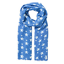Buy John Lewis Girl Star Print Scarf, Blue/White Online at johnlewis.com