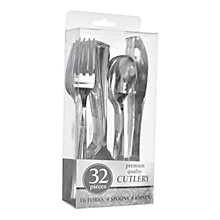Buy Amscan Plastic Cutlery Set, Silver, 32 Pieces Online at johnlewis.com