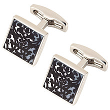 Buy Simon Carter Trellis Cufflinks, Black Enamel/Mother of Pearl Online at johnlewis.com