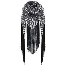 Buy Mint Velvet Tansy Fringe Scarf, Black / White Online at johnlewis.com