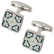 Buy Simon Carter Mother of Pearl and Enamel Moroccan Tile Cufflinks, Green Online at johnlewis.com