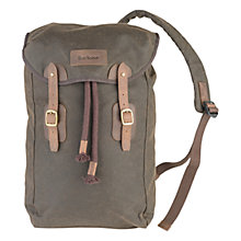 Buy Barbour Wax Leather Backpack, Olive Online at johnlewis.com