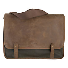 Buy Barbour Waxed Messenger Bag, Olive Online at johnlewis.com