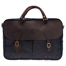 Buy Barbour Wax Cotton Leather Briefcase, Navy Online at johnlewis.com