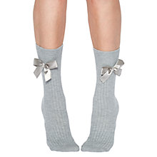 Buy Jonathan Aston Crystal Bow Ankle Socks, Grey Online at johnlewis.com