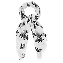 Buy Oasis Floral Acrylic Scarf, Black/White Online at johnlewis.com