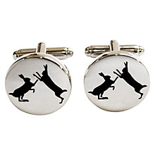 Buy TYLER & TYLER Sparring Hares Round Cufflink Set, White Brick Online at johnlewis.com