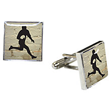 Buy TYLER & TYLER Rugby Cufflink Set, White Brick Online at johnlewis.com