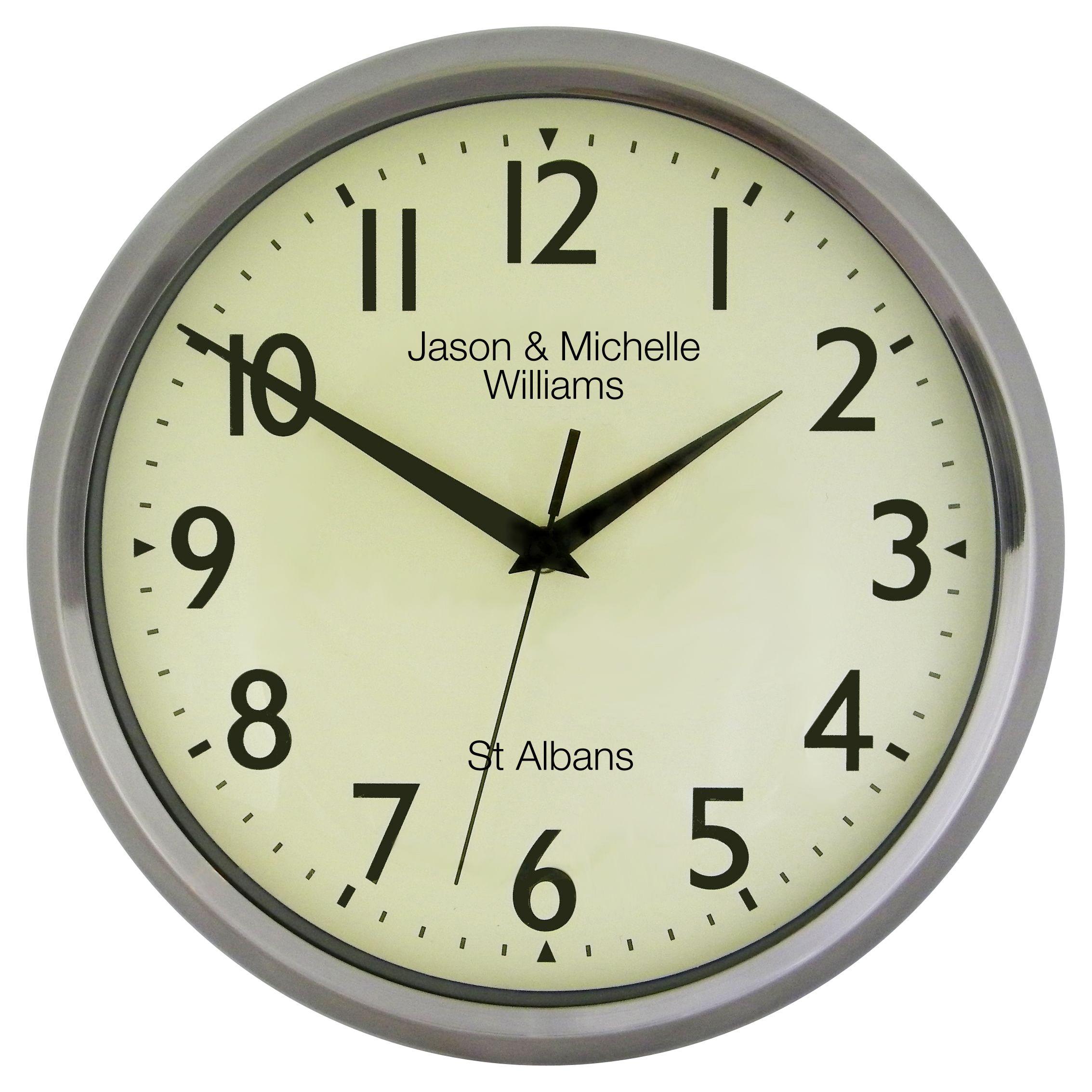 Lascelles Lascelles Personalised Chrome Case Clock, 30cm, Silver