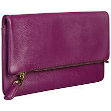 Buy Jaeger Harper Foldover Leather Zip Clutch Bag Online at johnlewis.com