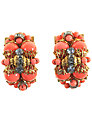 Alice Joseph Vintage 1930s Clip-on Earrings, Coral