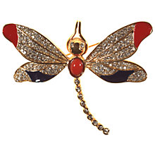 Buy Alice Joseph Vintage 1980s Bijoux Cascio Dragonfly Brooch, White/Red Online at johnlewis.com