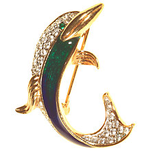 Buy Alice Joseph Vintage Attwood & Sawyer Dolphin Gold Plated Diamante Brooch, Blue Online at johnlewis.com