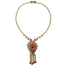 Buy Alice Joseph Vintage 1950s Topaz Diamante Necklace, White/Brown Online at johnlewis.com