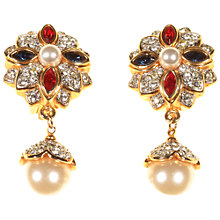 Buy Alice Joseph Vintage 1980s Pearl Diamante Clip-on Earrings, White/Gold Online at johnlewis.com