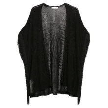 Buy Mango Fringe Detail Cardigan, Black Online at johnlewis.com