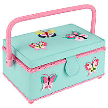 Buy John Lewis Butterfly Rectangular Sewing Basket, Blue Online at johnlewis.com
