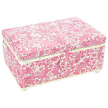 Buy John Lewis Carriages Rectangular Sewing Basket, Pink Online at johnlewis.com