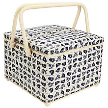 Buy John Lewis Monochrome Poppy Twin Lid Sewbasket, Black/Cream Online at johnlewis.com