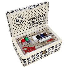 Buy John Lewis Monochrome Poppy Rectangular Sewing Basket, Black/Cream Online at johnlewis.com