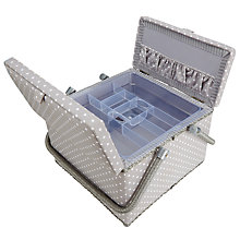 Buy John Lewis Spot Twin Lid Sewbasket, Grey Online at johnlewis.com
