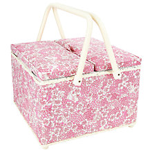 Buy John Lewis Daisy Twin Lid Sewbasket, Blue Online at johnlewis.com