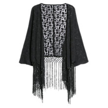 Buy Mango Floral Embroidery Kimono, Black Online at johnlewis.com