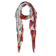 Buy Jigsaw Painted Geo Scarf, Pink Online at johnlewis.com