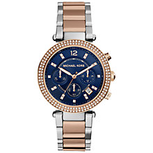 Buy Michael Kors MK6141 Women's Parker Watch, Rose Gold/Silver/Blue Online at johnlewis.com