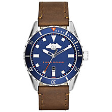 Buy Armani Exchange AX1706 Men's Covert Leather Strap Watch, Brown/Blue Online at johnlewis.com