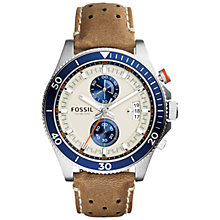 Buy Fossil CH2951 Men's Wakefield Chronograph Leather Watch, Brown Eggshell Online at johnlewis.com