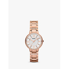 Buy Fossil ES3284 Women's Virginia Stainless Steel Bracelet Strap Watch, Rose Gold/White Online at johnlewis.com