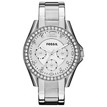 Buy Fossil ES3202 Women's Riley Stainless Steel Watch, Silver/White Online at johnlewis.com