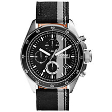 Buy Fossil CH2959 Men's Decker Chronograph Fabric Strap Watch, Black/Grey Online at johnlewis.com