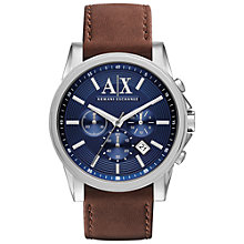 Buy Armani Exchange AX2501 Men's Outerbanks Leather Strap Watch, Brown/Blue Online at johnlewis.com