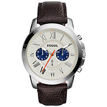 Buy Fossil FS5021 Men's Grant Chronograph Leather Strap Watch, Brown Eggshell Online at johnlewis.com