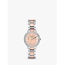 Buy Fossil ES3405 Women's Virginia Stainless Steel Watch, Rose Gold Online at johnlewis.com