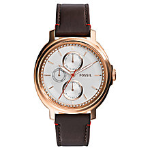 Buy Fossil ES3594 Women's Chelsey Leather Strap Watch, Brown/White Online at johnlewis.com